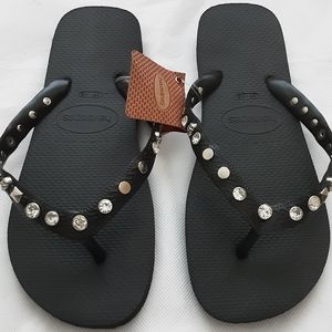Havaianas Black Silver Size 39-40 Studded